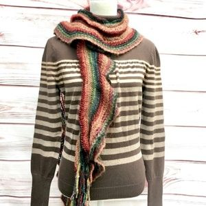 a.n.a Turtleneck Sweater Striped Brown L